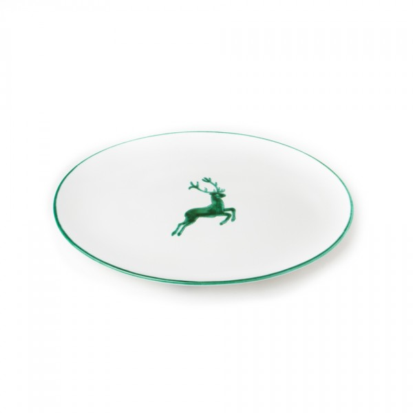 Gmundner Keramik Grüner Hirsch Platte oval Cup (POSE28) 28 cm