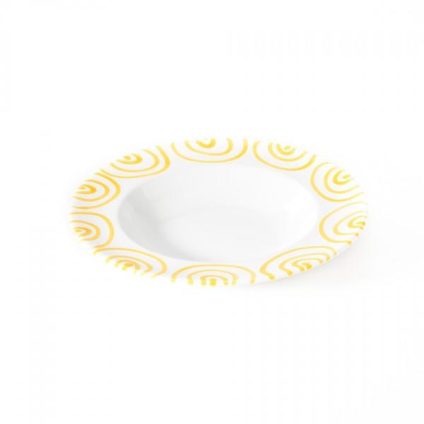 Gmundner Keramik Gelbgeflammt Suppenteller m. Fahne Gourmet (TSGO24) 24 cm