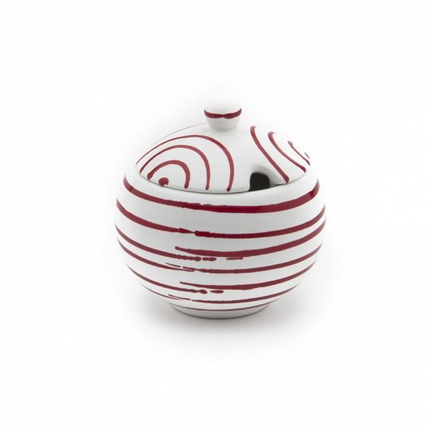 Gmundner Keramik Rotgeflammt Zuckerdose glatt classic mit Ausschnitt (DAGL09) 10 cm