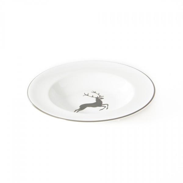 Gmundner Keramik Grauer Hirsch Suppenteller Gourmet mit Fahne (TSGO24) 24 cm
