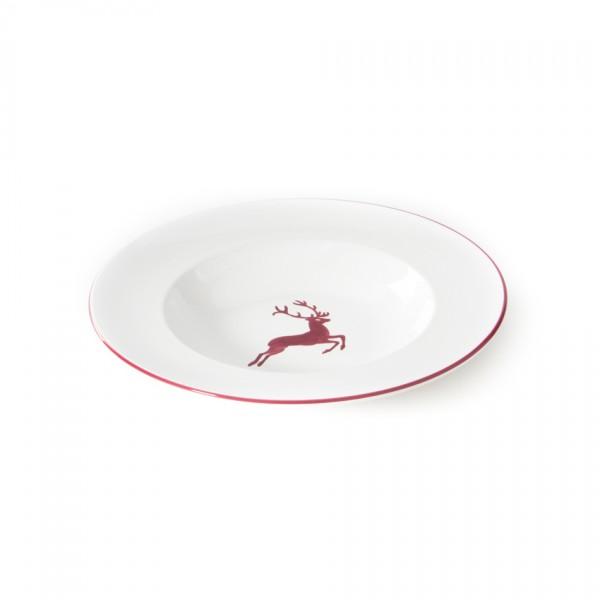 Gmundner Keramik Bordeauxroter Hirsch Gourmetteller/Pastateller (TEGO29) 29 cm