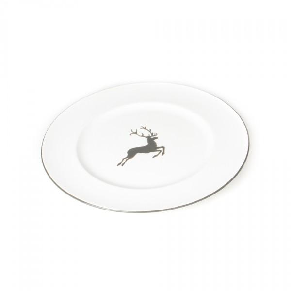 Gmundner Keramik Grauer Hirsch Speiseteller Gourmet mit Fahne (TFGO29) 29 cm