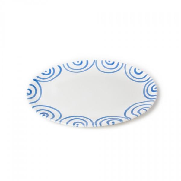 Gmundner Keramik Blaugeflammt Platte oval (POSE28) 28 x 21 cm