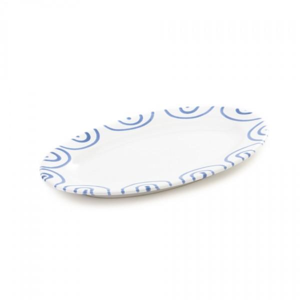 Gmundner Keramik Blaugeflammt Platte oval/Saucieren-Unterteil (POGO21) 21 x 14 cm