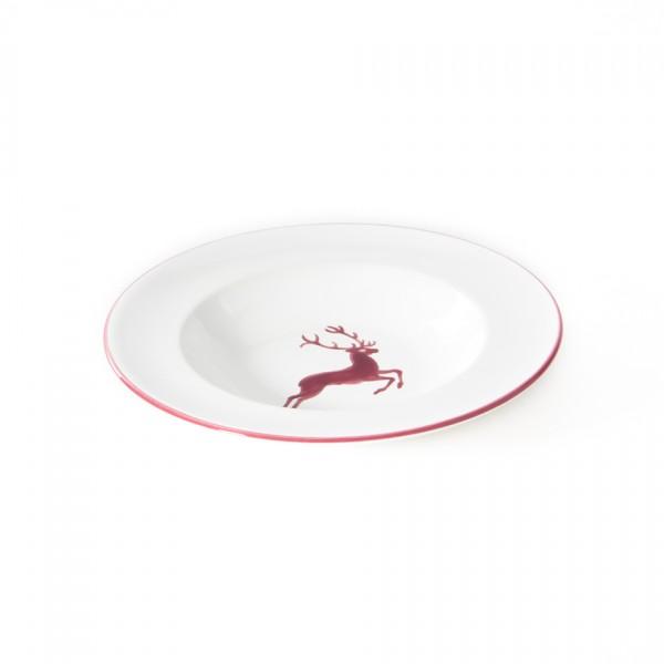 Gmundner Keramik Bordeauxroter Hirsch Suppenteller Gourmet mit Fahne (TSGO24) 24 cm