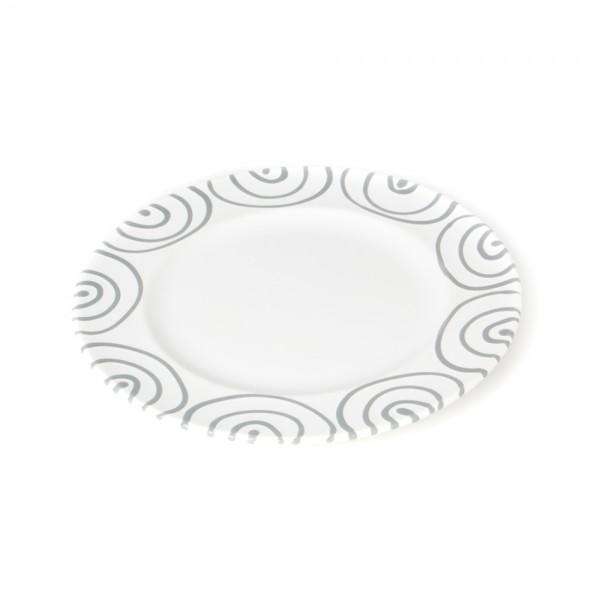 Gmundner Keramik Graugeflammt Teller m. Fahne Gourmet (TDGO22) 22 cm