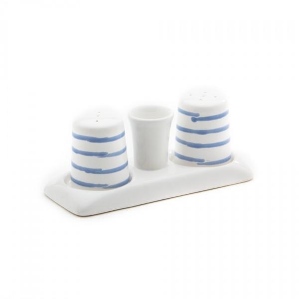 Gmundner Keramik Blaugeflammt Salz/Pfeffer-Garniturenset glatt (SGGL05)